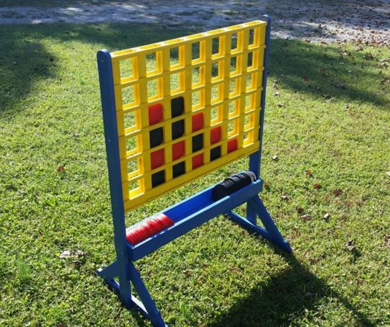 A large, custom-built connect four game.