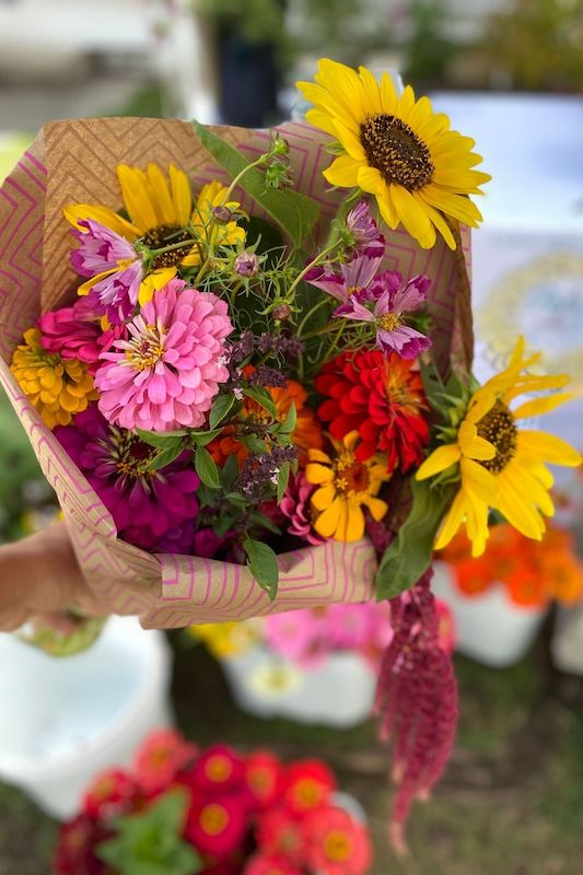 A photo of fresh-cut flowers from Petal and Rake.