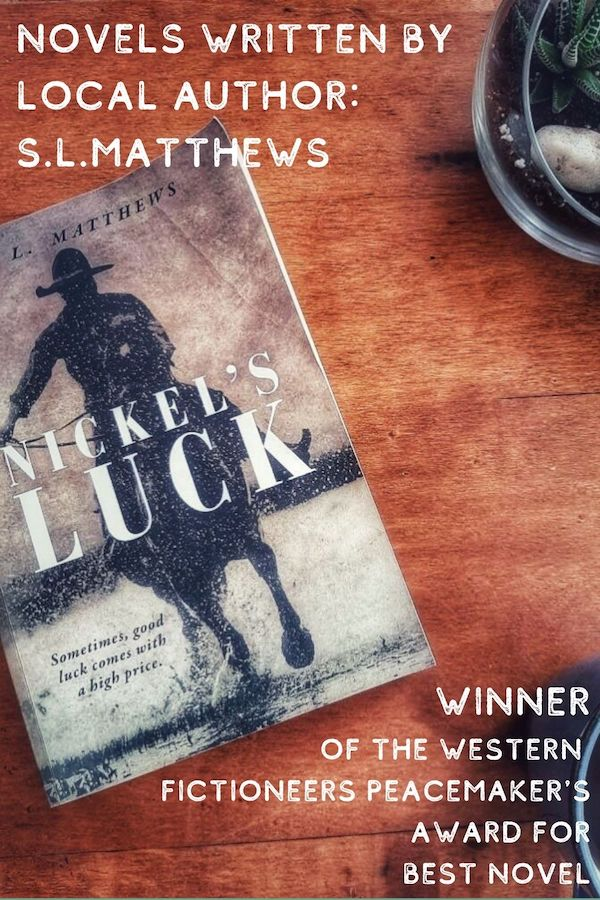"""A novel written by Cookeville local S.L.Matthews show's the silhouette of a cowboy riding a horse. The book is titled """"Nickel's Luck""""."""