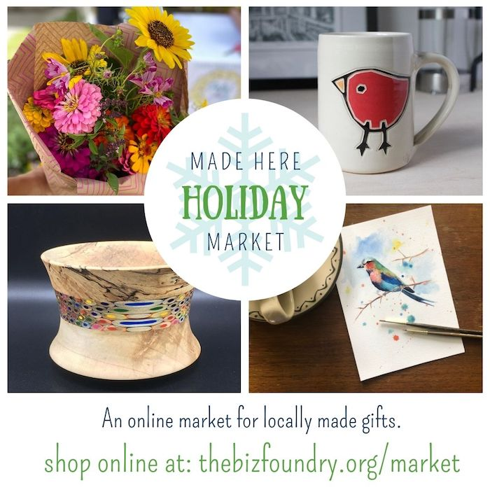 Square image for Made Here Holiday Market featuring a ceramic mug, fresh flowers, a watercolor painting of a bird, and a wooden bowl with color accents