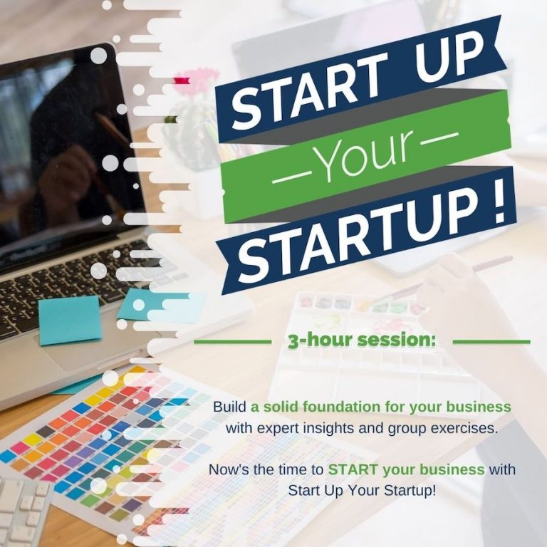 A promo image for Start Up Your Startup. A laptop sits in the background. The event logo is at the forefront of the graphic.