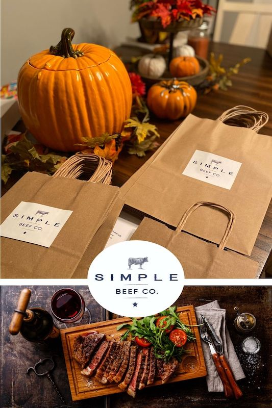 A photo of cooked prime rib and brown gift bags from Simple Beef Co.