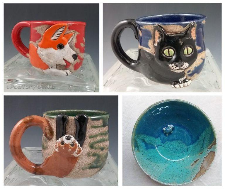 Ceramic mugs featuring animals ( a cat, a ferret, and a dog).