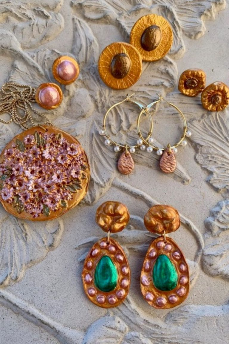 A collection of earrings made my Alexandra Barcelona