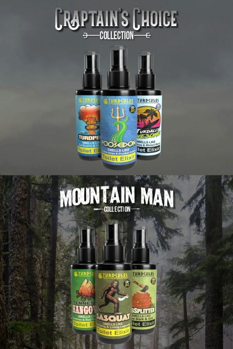 Bathroom sprays from Turdcules. Captain's Choice and Mountain Man collections.
