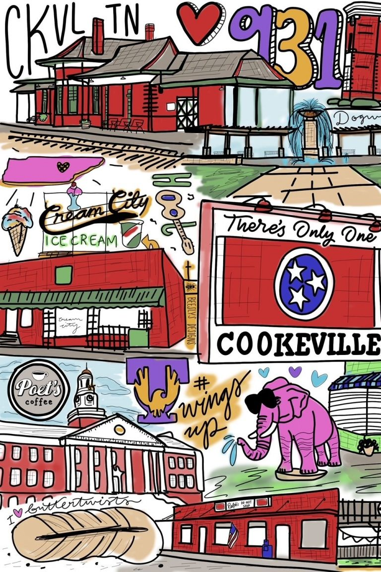 A handdrawn collage of popular Cookeville sights and attractions (including the Pink Elephants, Ralph's Donut Shop, and the Train Depot)