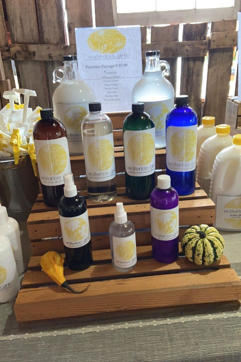 Bottles of cleaning supplies from Waterloo Girl's Natural Cleaning Solutions.