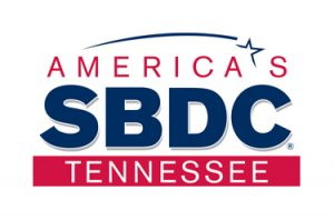 """A blue and red logo with the words """"America's SBDC Tennessee"""""""