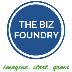 The Biz Foundry. A blue circle withe The Biz FOundry's name in the center.