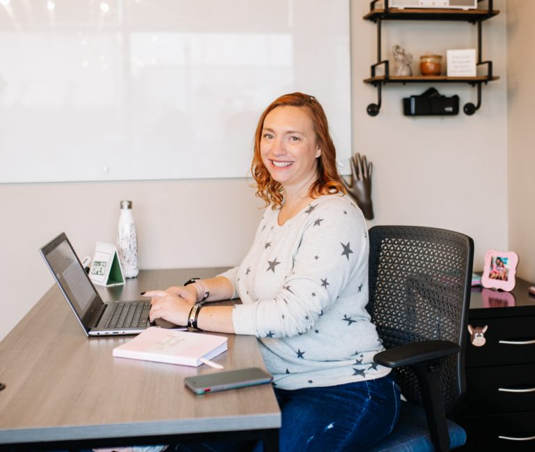 Tiffany Anton sitting in her office at The Biz Foundry